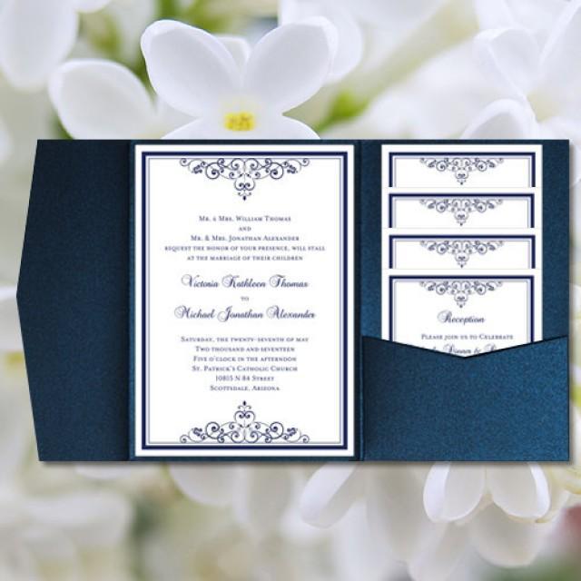 Diy pocketfold wedding invitations quotvintagequot navy blue for Printable folded wedding invitations