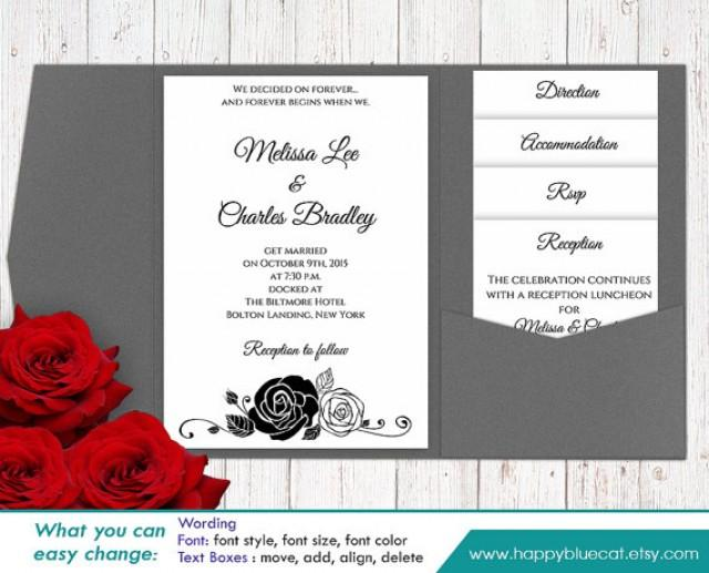 Wedding Invitations Template Word: DiY Printable Pocket Wedding Invitation Template SET