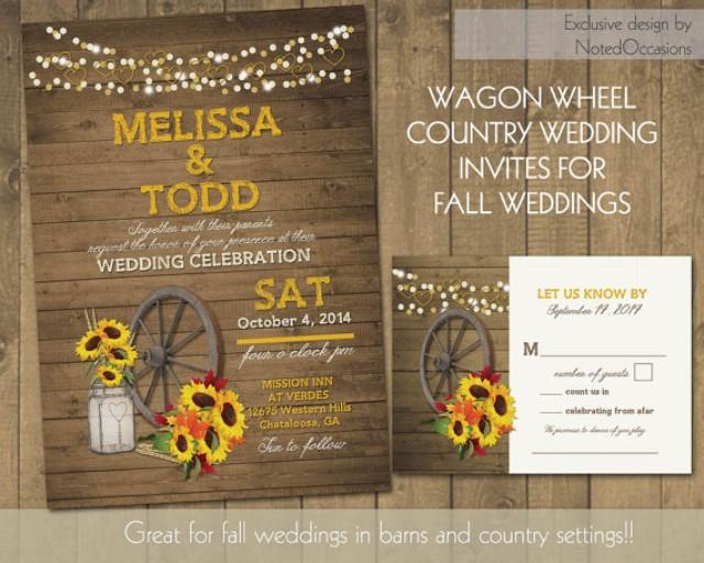 Rustic Western Wedding Invitations: Rustic Sunflower Wedding Invitations Suite Country Western
