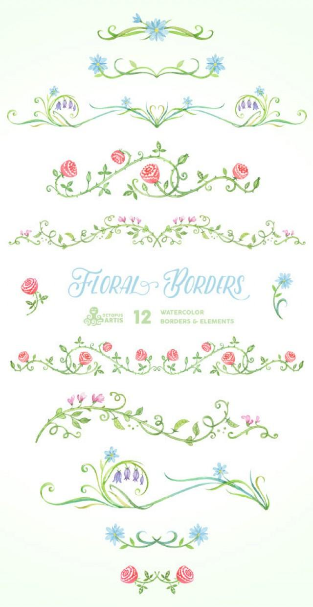 Floral Borders Elements 12 Digital Clipart Hand Painted Wedding