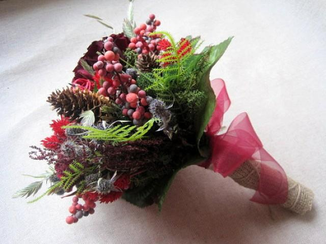 Wedding Autumn Country Bridal Bouquet Rustic Red Brown And Green Dried Flower Barn Cottage 2333003