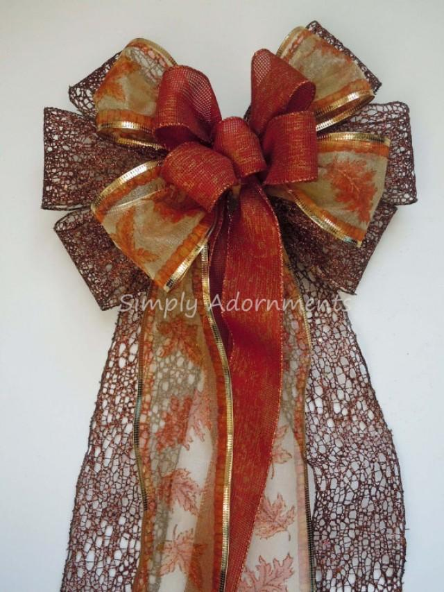 Brown Burnt Orange Wedding Pew Bow Fall Colors Wedding Bow