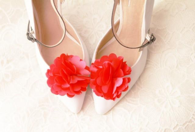 Fuchsia Satin Flower Shoe Clips