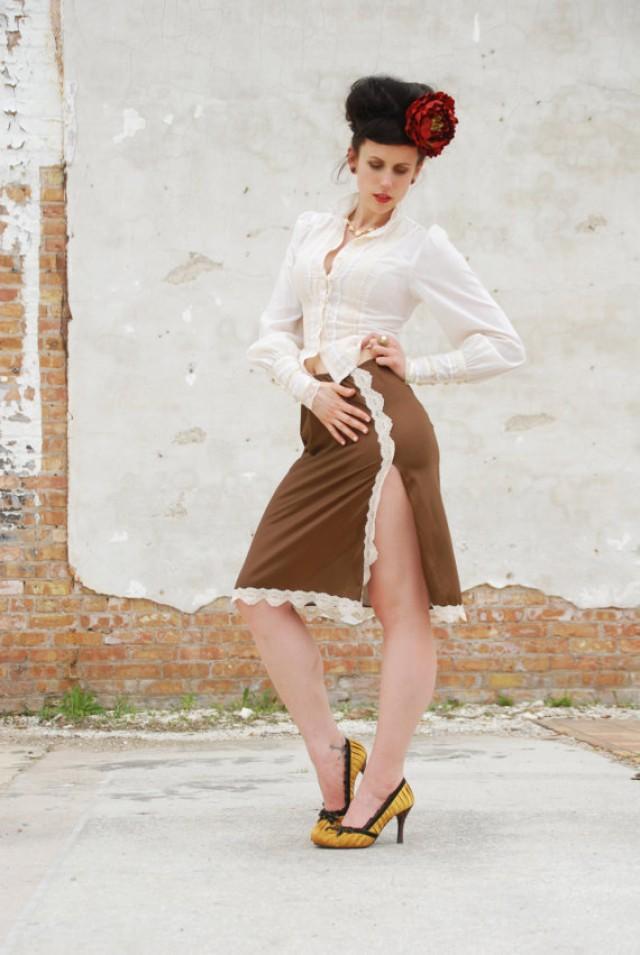 Vintage 1950s Slip Skirt Brown Bronze Ivory White Lace
