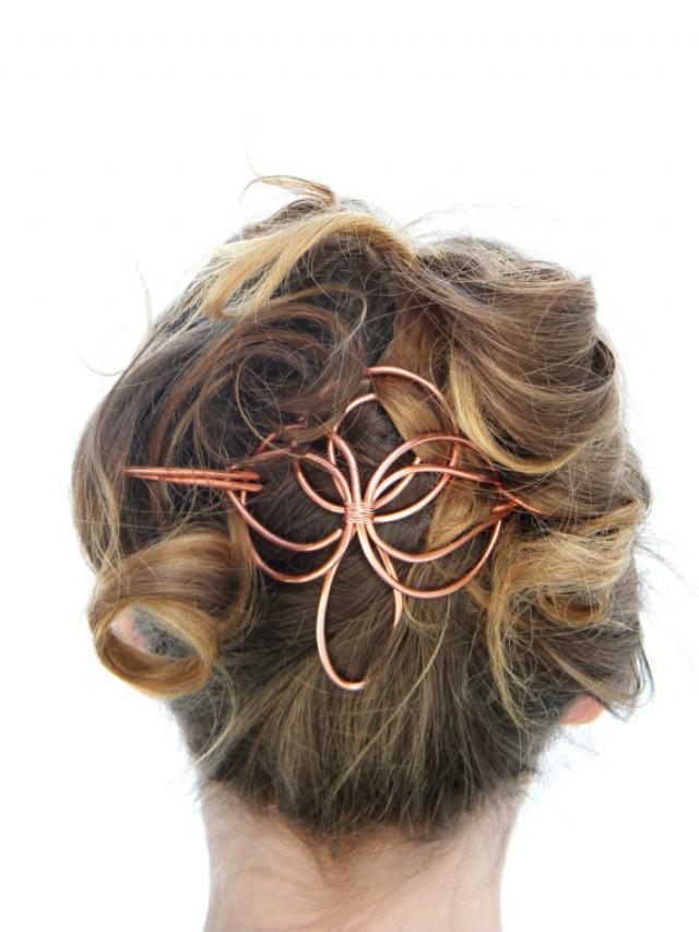 Angel, Hair Slide, Hair Accessories, Copper, Hair Barrette, Hair Stick, Bridal Hairpiece, Formal ...