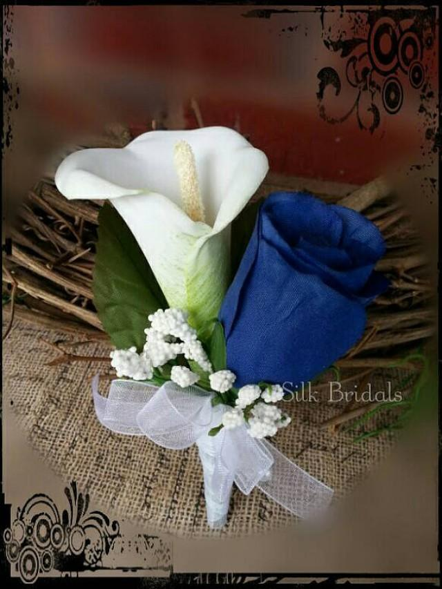 Royal Blue White Calla Rose Boutonniere Groom Groomsman
