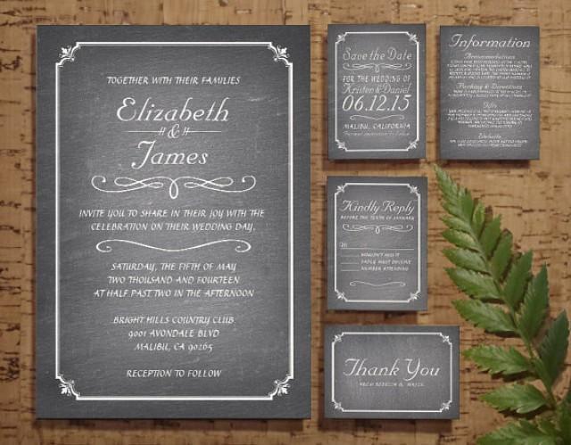 Wedding Invitation Rsvp Date: White Chalkboard Wedding Invitation Set/Suite, Invites