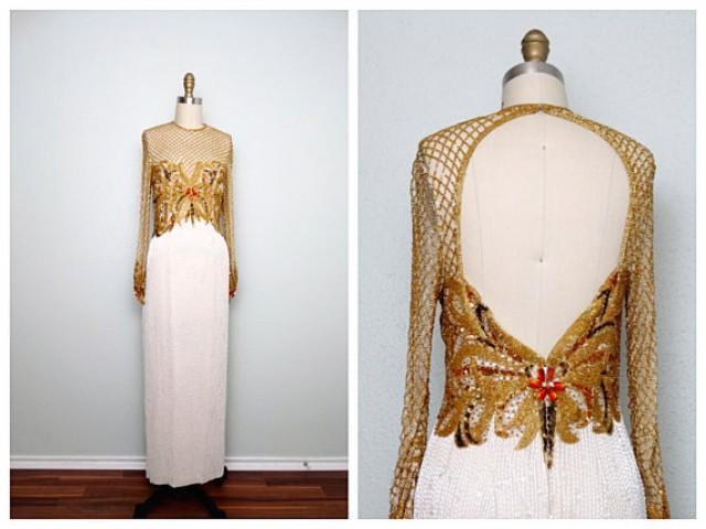 STUNNING Gold Beaded Wedding Dress By Naeem Khan And Lillie Rubin ...