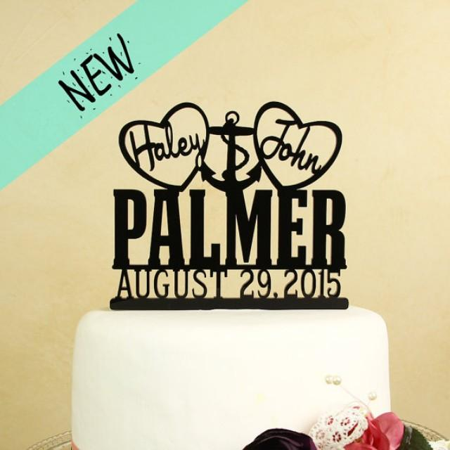 Wedding Cake Topper With Anchor Personalized With First Names In ...