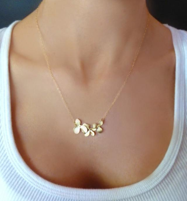 Orchid Flower Necklace Dainty Triple Orchid Necklace Gold Or