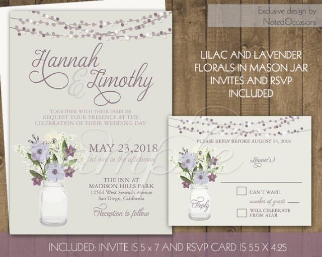Outdoor Themed Wedding Invitations: Country Mason Jar Wedding Invitation Set, DIY Rustic