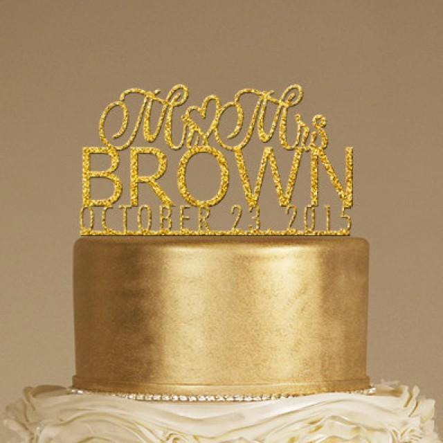 Glitter Acrylic Custom Wedding Cake Topper - Personalized Monogram ...