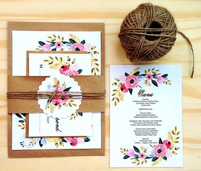 Homemade Wedding Invitation Template: Printable Wedding Invitation Set, Instant Download
