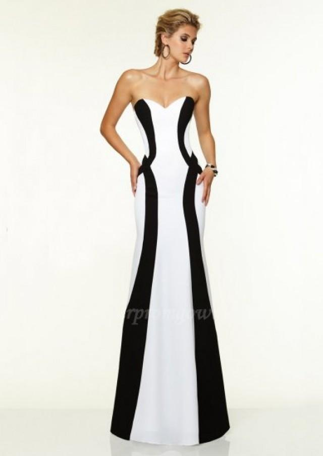 2015 Mori Lee 97139 White And Black Strapless Satin Prom Gowns ...