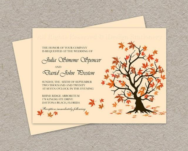 DIY Fall Wedding Invitation Printable Leaves Invitations Falling Autumn Template 2337054