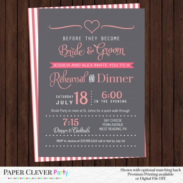 Wedding Rehearsal Invitations Coral And Gray Modern Dinner Party Bridal Shower Personalized Prints Or Printable 2337195