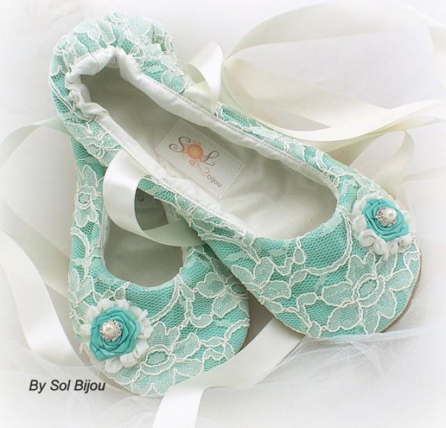 ballet flats wedding bridal shoes ballerina slippers flower girl ivory turquoise aqua. Black Bedroom Furniture Sets. Home Design Ideas