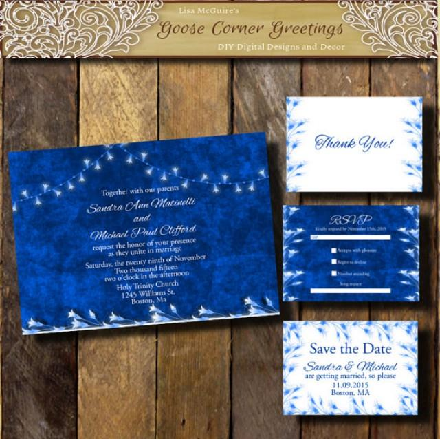 Cobalt Blue Wedding Invitation Suite String Lights Winter Any Color Flourish Sapphire Bridal Shower Rehearsal Dinner Navy 2337629