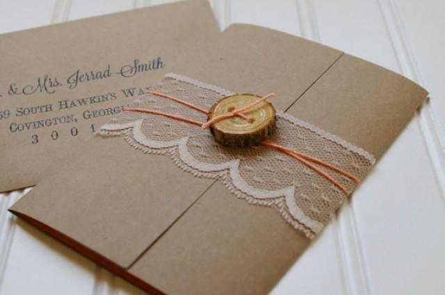 Wedding Invitations Handmade Ideas: Rustic Wood Slice And Lace Wedding Invitations: Unique