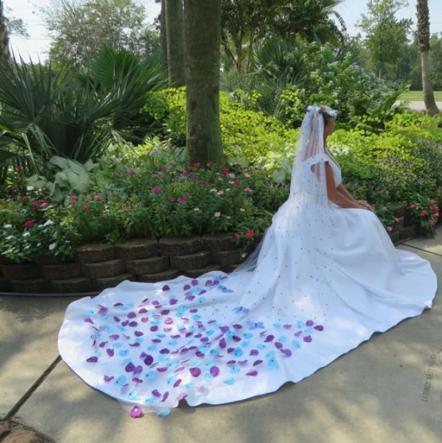 Superlative Erfly Wedding Veil Purple And Turquoise White Bridal Veils 2338963