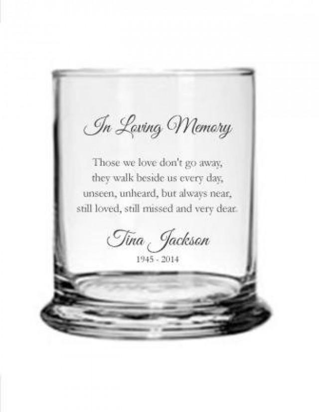 Personalized Engraved Memorial Glass Candle Holder Vase
