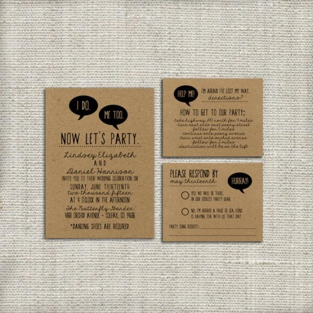 Funny Wedding Invite: DIY Wedding Invitation Suite DEPOSIT