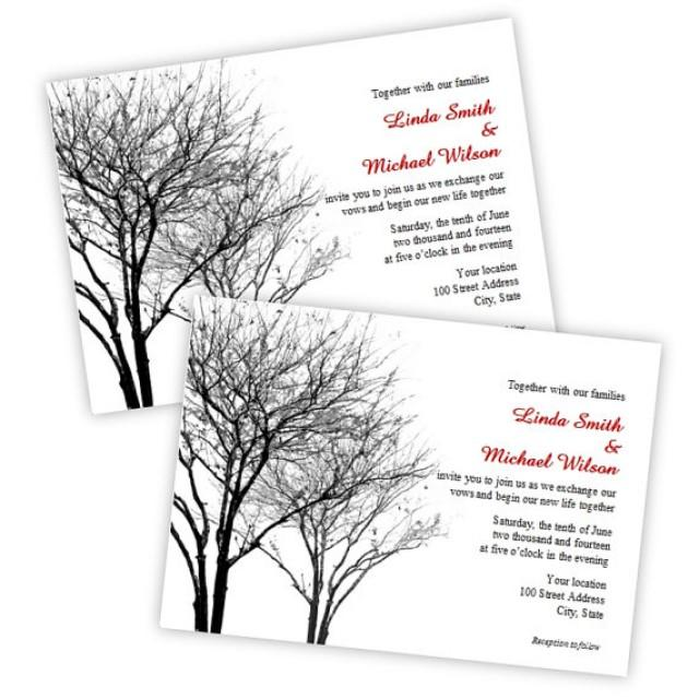 Black And Gray Winter Trees Wedding Invitation Instant