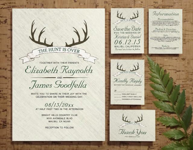 When Do You Send Invitations For A Wedding: The Hunt Is Over Wedding Invitation Set/Suite, Invites
