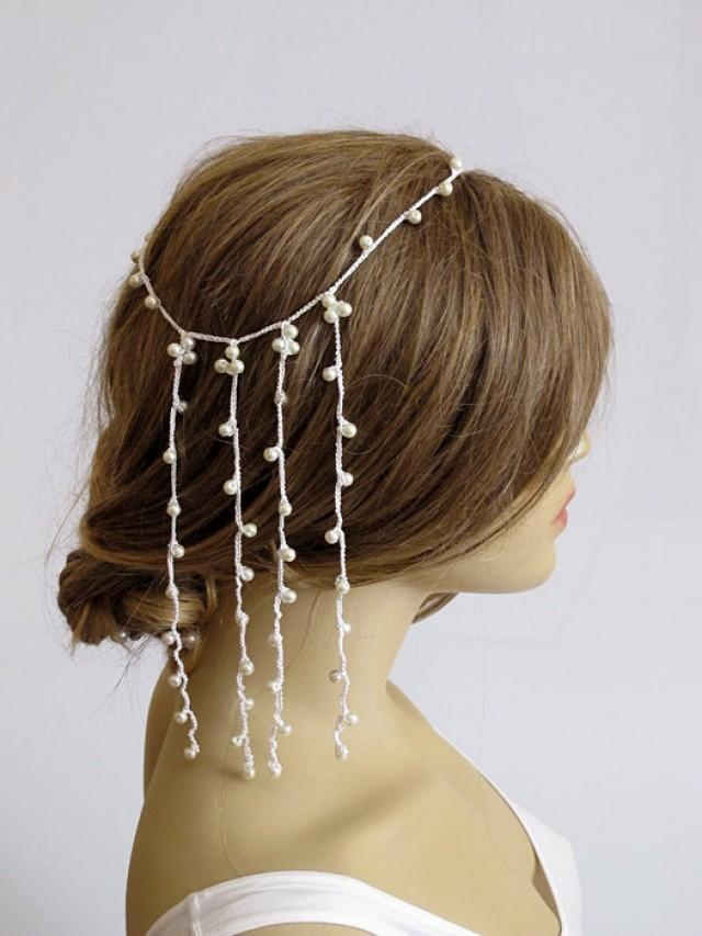 Wedding Crochet Headband Pearl Hairband Weddings Hair Accessories Hair Piece Wedding Bridal ...