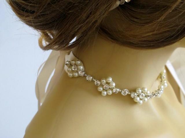 Wedding Choker Necklace, Bridal Necklace, Rhinestone And