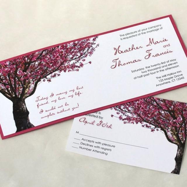 Cherry Blossom Tree Wedding Invitation Spring Wedding Invitation