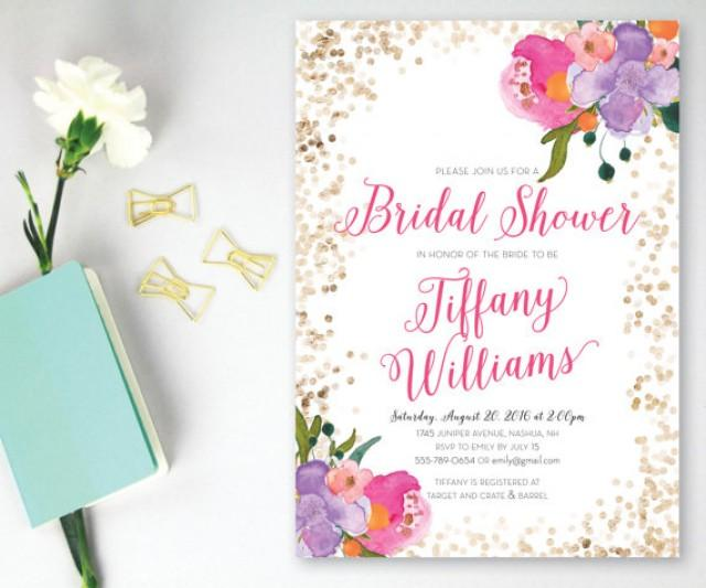 Printable Bridal Shower Invitation Pink And Gold Glitter