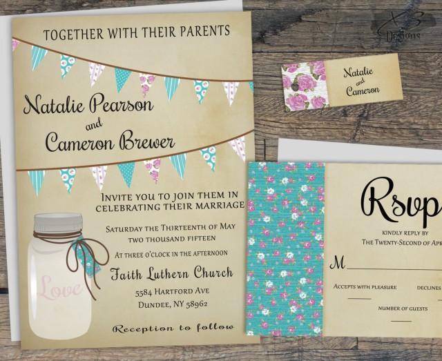 Backyard Wedding Invitation: Printable Rustic Wedding Invitation, Mason Jar Wedding