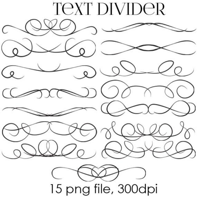 Swirl Borders For Wedding Invitations: 70% OFF SALE Text Dividers Digital Clipart