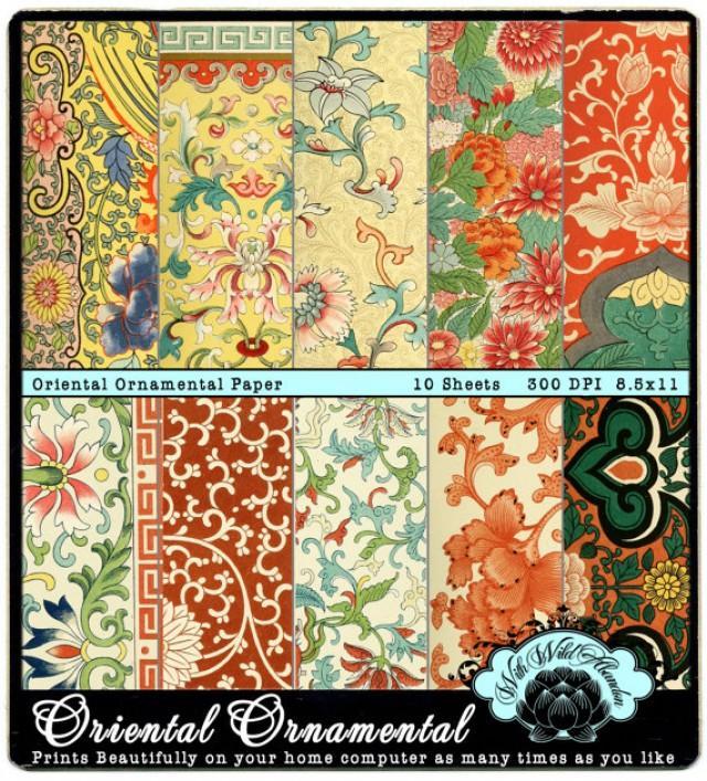 Ornamental Digital Paper Oriental Renaissance Printable Paper