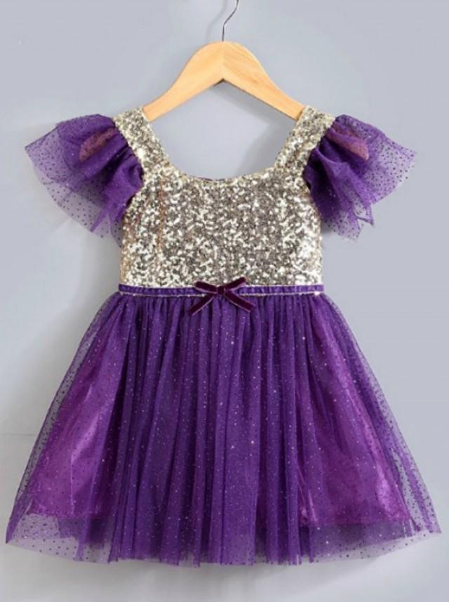 Purple Gold Sequined Girls Dress, Sequin Dress, Princess Dress ...