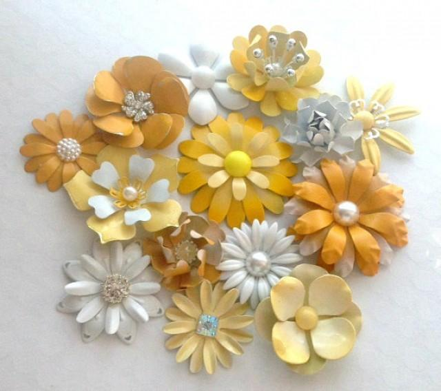 White And Yellow Enamel Flower Brooch Lot 14 Handmade Metal Pins ...