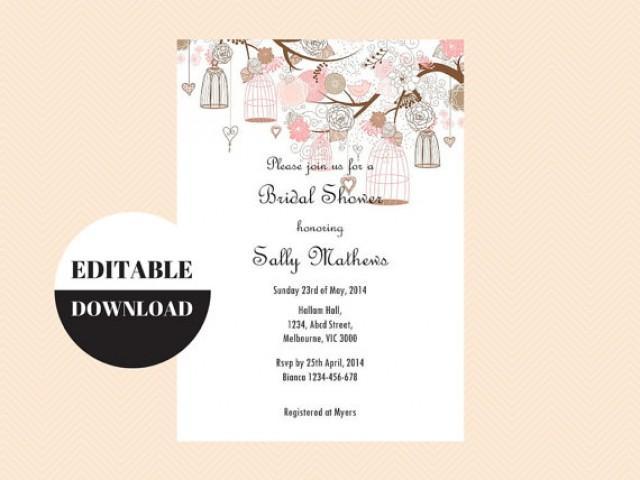 editable baby shower invitations editable bridal shower invitations editable birthday party invitation love birds birdcage tlc18 bs42 2343504