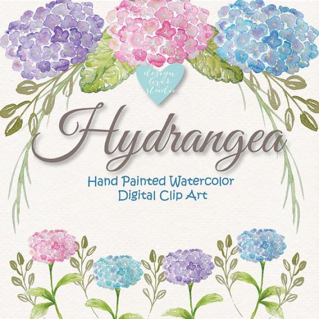 Watercolor Hydrangea Flowers Clipart Spring Flower Clipart Purple