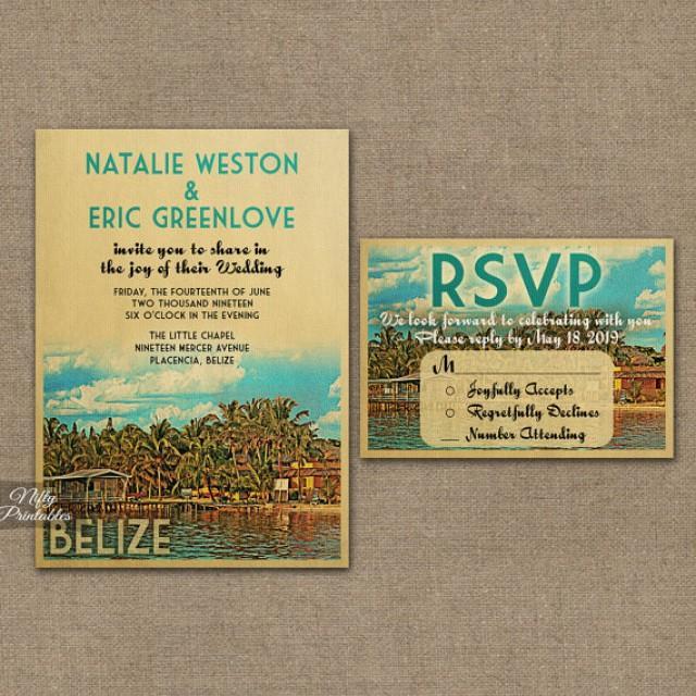 belize wedding invitation printable vintage belize caribbean