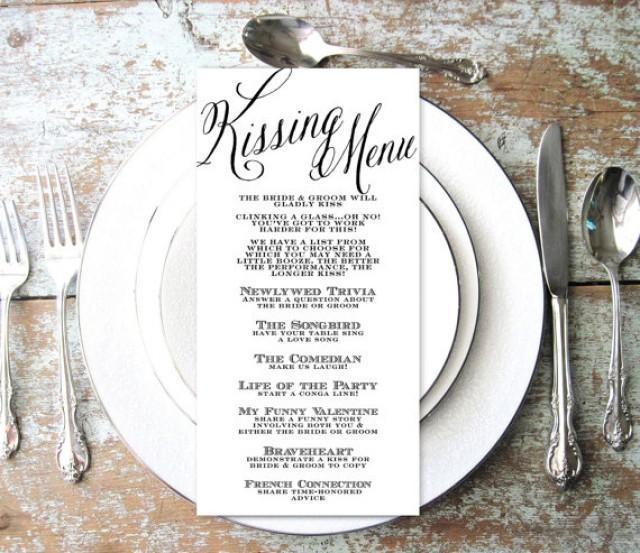 Wedding Reception Games Ideas For Guests: Kissing Menu, Wedding Kissing Menu, Elegant, Script