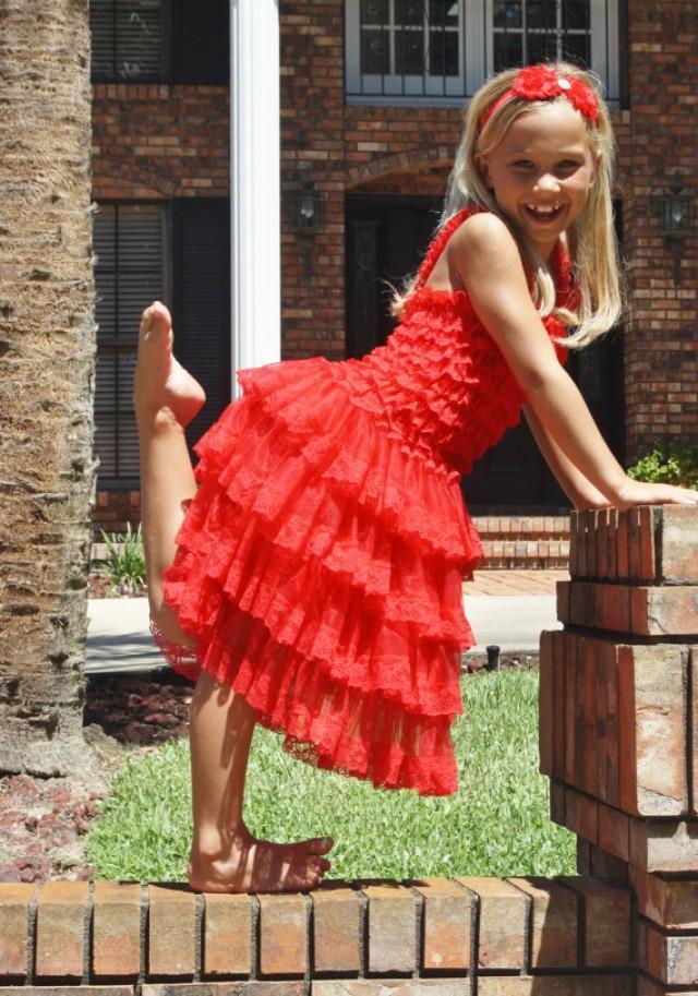 Girls Chiffon Dress- Red Flower Girl Dresses- Christmas ...