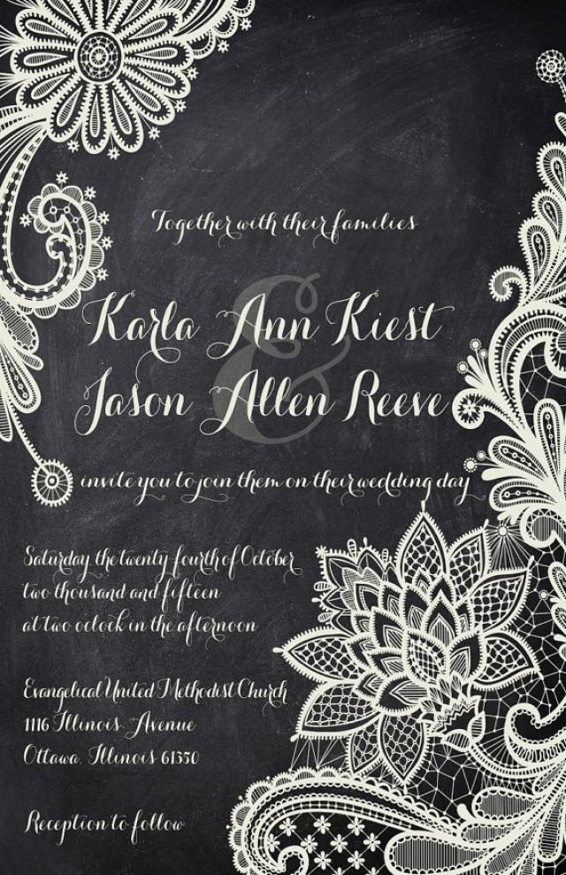 Rush lace chalkboard wedding invitations black and white rush lace chalkboard wedding invitations black and white typography custom listing for karlakiest 2345121 weddbook filmwisefo