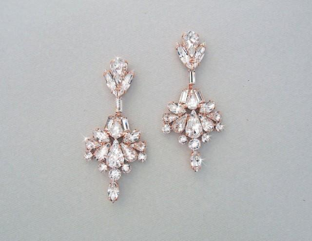 Wedding Earrings Chandelier Bridal Rose Gold Crystal Swarovski Crystals Jewelry Veda 2345194