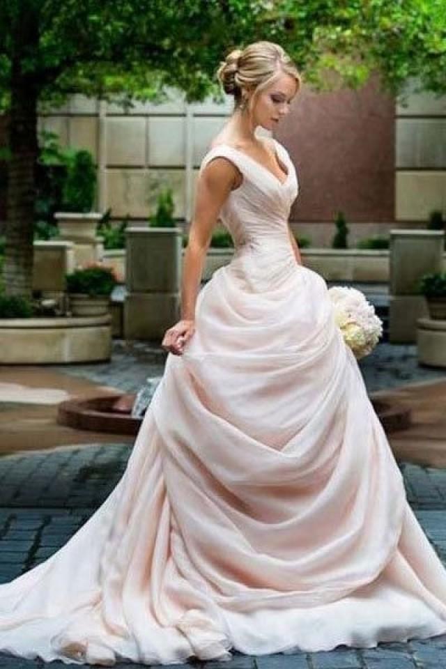 Blush Pink Wedding Dresses Princess V Neckline Ruffled Organza ...