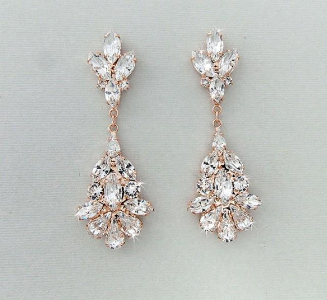 Wedding Earrings Chandelier Bridal Rose Gold Crystal Dangle Jewelry Blanche 2345751 Weddbook