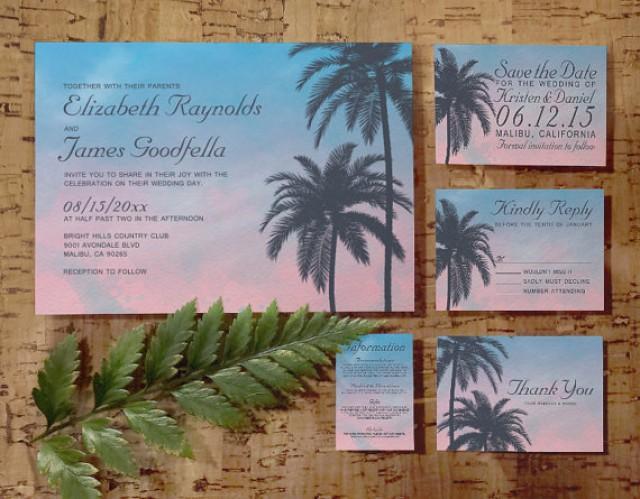 Elegant palm tree wedding invitation set suite invites for Digital wedding invitations with rsvp