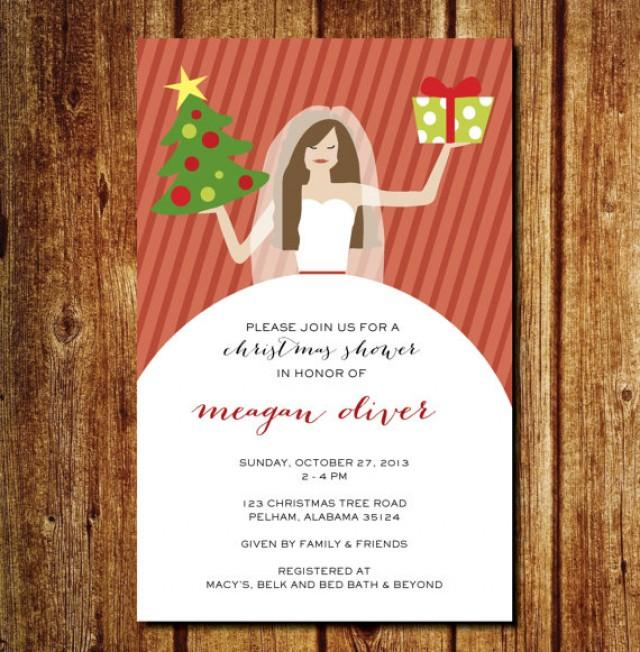 Christmas In July Wedding.Bridal Christmas Shower Invitation Christmas Wedding Shower