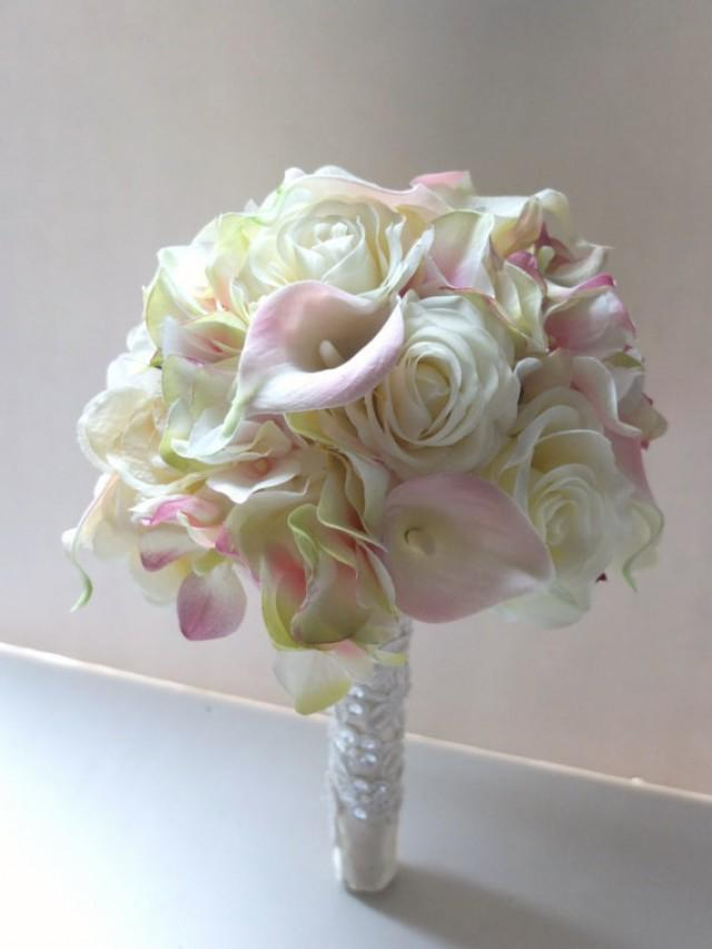Blush Pink Calla Lily Amp Hydrangeabouquet Bridal Bouquet
