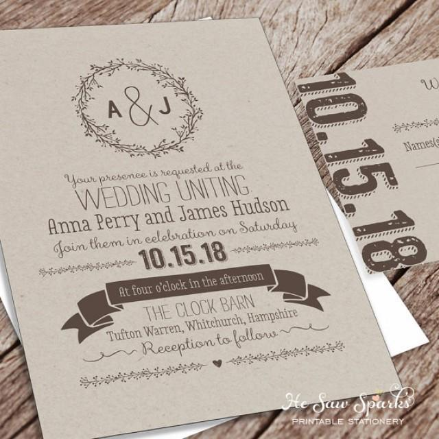 printable wedding invitation package kraft 2346468 weddbook